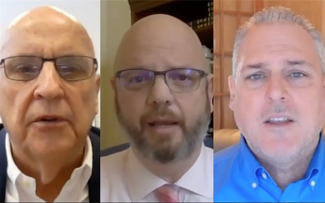 State representatives Mike Murphy, R-Springfield, Jeff Keicher, R-Sycamore, and Keith Wheeler, R-Oswego speak during a virtual news conference Friday.