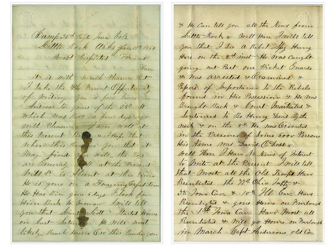 One of many emotional letters to a loved one back home: Scott Cone exchanged letters throughout his four-year tenure during the Civil War.