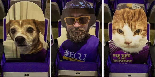 According to ECU's marketing and fan engagement team, around 150 cutouts were sold during basketball season. In the first week of opening the cutout orders up to spring sports, nearly 100 more cutouts were sold. [Courtesy of ECU athletics]