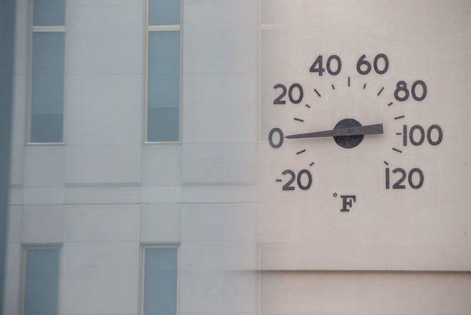 The temperature gauge on the Evergy building in downtown Topeka registers at 0 degrees Monday.