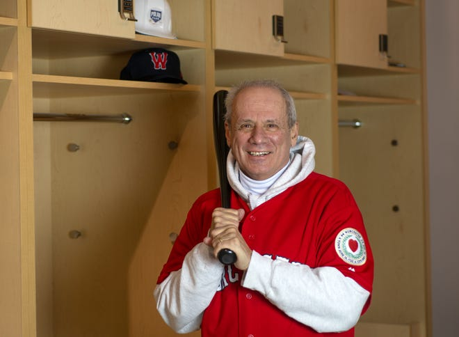 Larry Lucchino poses in the Woo Sox locker room, which was under construction on Saturday, February 13, 2021.