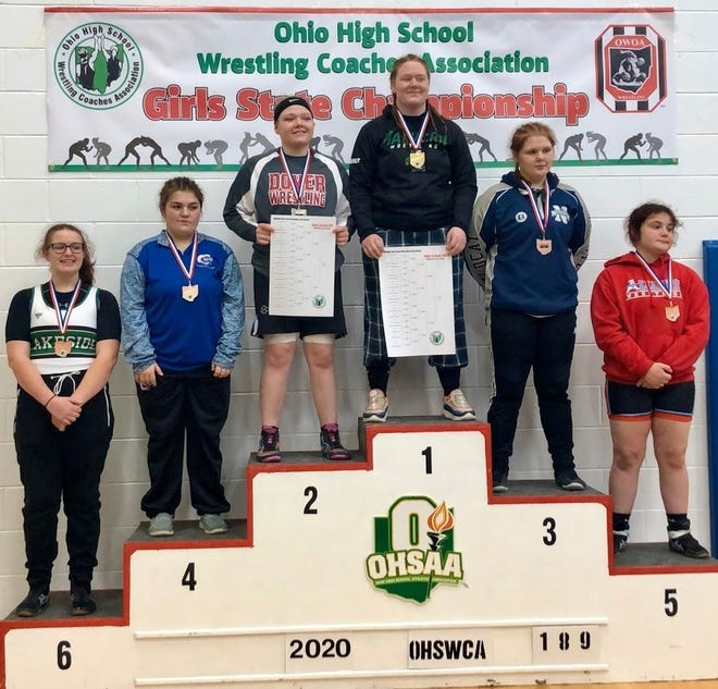 Dover's Payton Curley finished second in the girls state wrestling tournament last year.