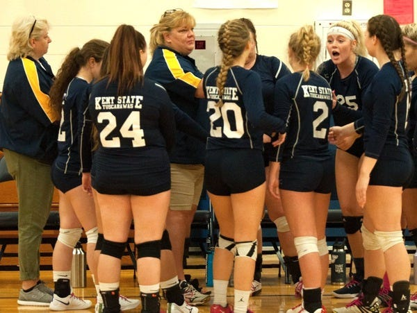The KSU Tuscarawas volleyball team dropped a pair of matches at Hocking College Sunday.