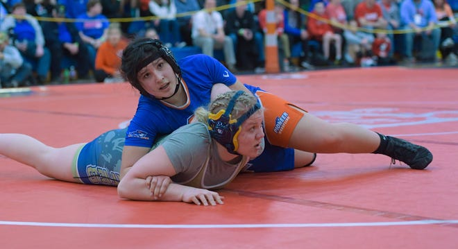 Orange's Talia Mitchell won a district title at 189 pounds Feb. 14, helping the Pioneers capture the team championship.