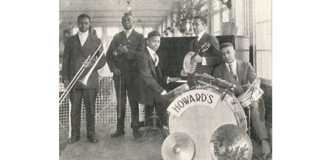 Thomas Howard was a booking agent and band manager during the early 20th century. He managed a vaudeville theater in downtown Columbus in the 1910s and was responsible for bringing many jazz performers to Columbus. His band, Tom Howard's Famous Orchestra, performed around the city, including as pictured at the Jeffrey Manufacturing Co. restaurant. The band included (from left) Leroy Jenkins on trombone, Owen Artist on violin, Eugene Anderson on piano, Clinton Morman on banjo and Alonzo Campbell on drums.