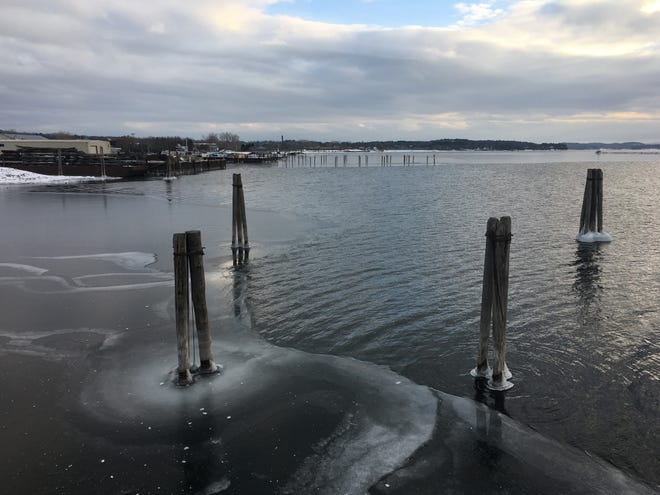 Thin ice gives way to open water on Lake Champlain on the Burlington waterfront on Feb. 14, 2021.