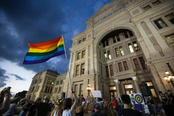 Members of Austin's LGBT community gathered on the steps of the capitol in 2017 to celebrate the anniversary of the 1969 Stonewall uprising.