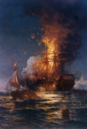 """Burning of the frigate Philadelphia in the harbor of Tripoli, 16 February 1804,"" by Edward Moran."