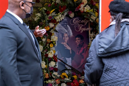 A photo collage of Cicely Tyson greets people arriving just inside the Abyssinian Baptist Church in the Harlem neighborhood of New York where a public viewing was held Monday for  Tyson, who died Jan. 28.