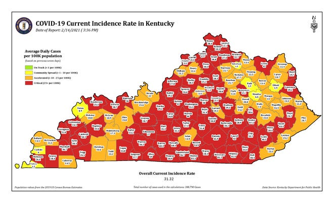 The COVID-19 current incidence rate map in Kentucky as of Sunday, Feb. 14.