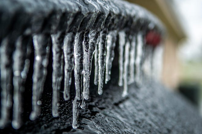 Icicles form on a vehicle in Maurice, Louisiana Monday, Feb. 15, 2021.