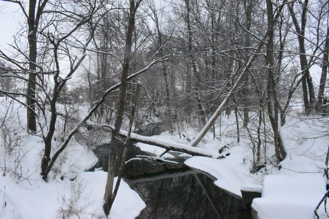 Snow covers the banks of the creek that runs past Utica Park in Lancaster on Feb. 15, 2021.