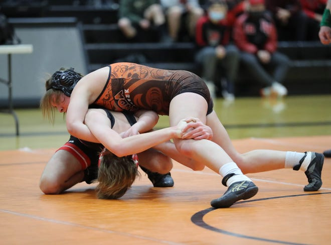 Amanda-Clearcreek freshman Jaycie Spires won a district championship in the 126-pound weight class to qualify for the state girls wrestling tournament.