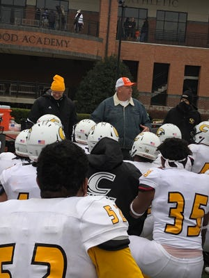 Former NFL head coach Rex Ryan spoke to Centre College football players after their 30-0 win over Rhodes on Saturday, Feb. 13.