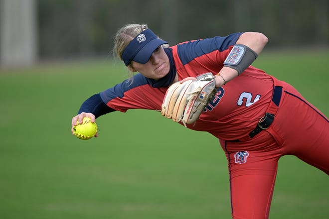Liberty infielder Savannah Channell (2) throws before an NCAA softball game against Middle Tennessee.