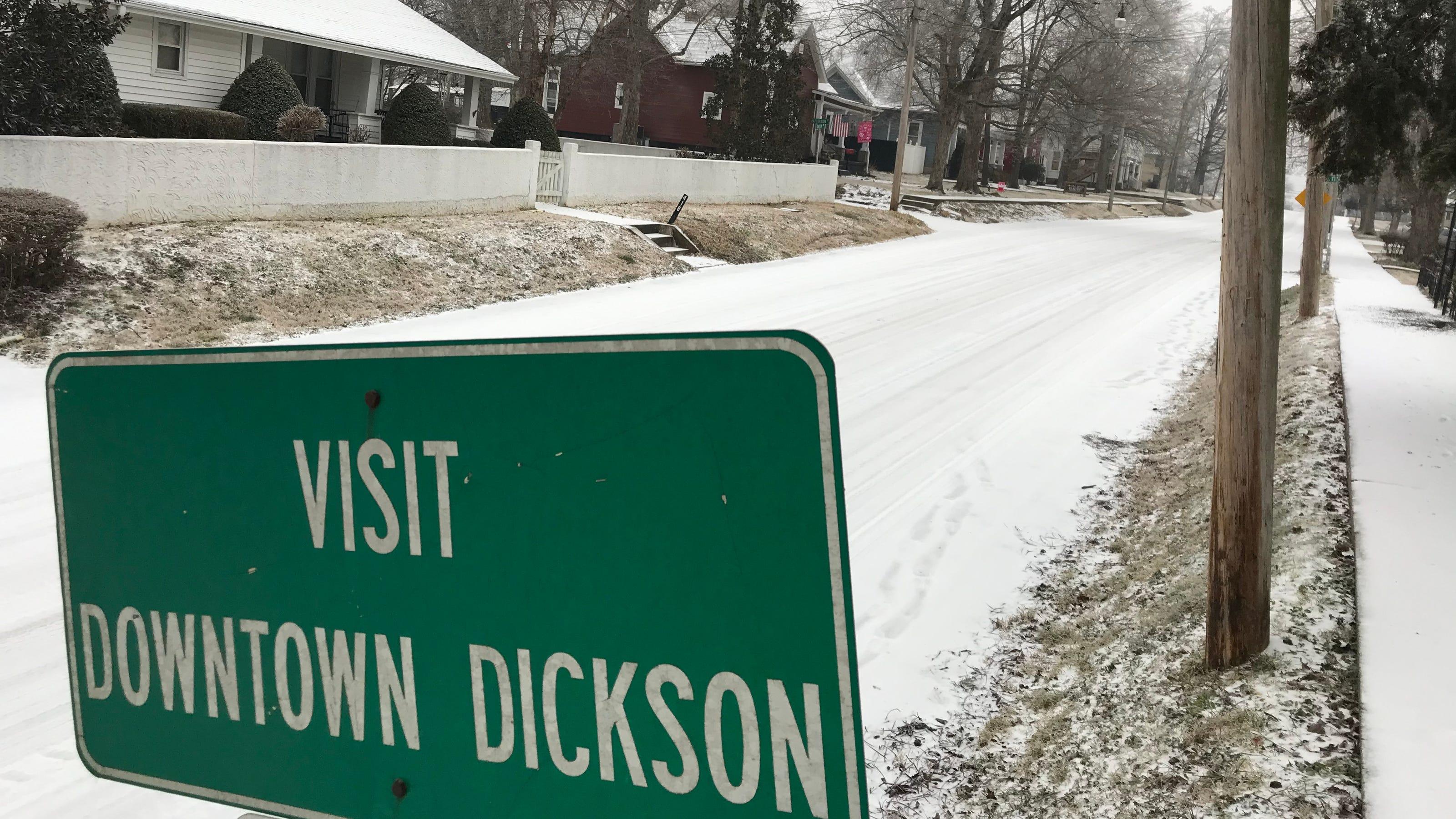 dickson snow officials say roads slick