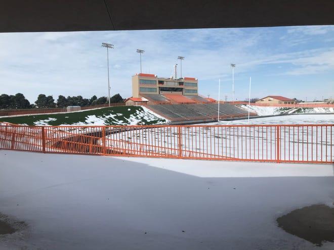 The Artesia Bulldogs football field following the snowfall on Feb. 15, 2021.