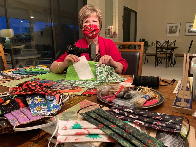 Kathie Allen of Bermuda Dunes has been contributing to ending the COVID-19 pandemic by sewing masks that comply with new CDC guidelines and are fun to wear to increase adherence.