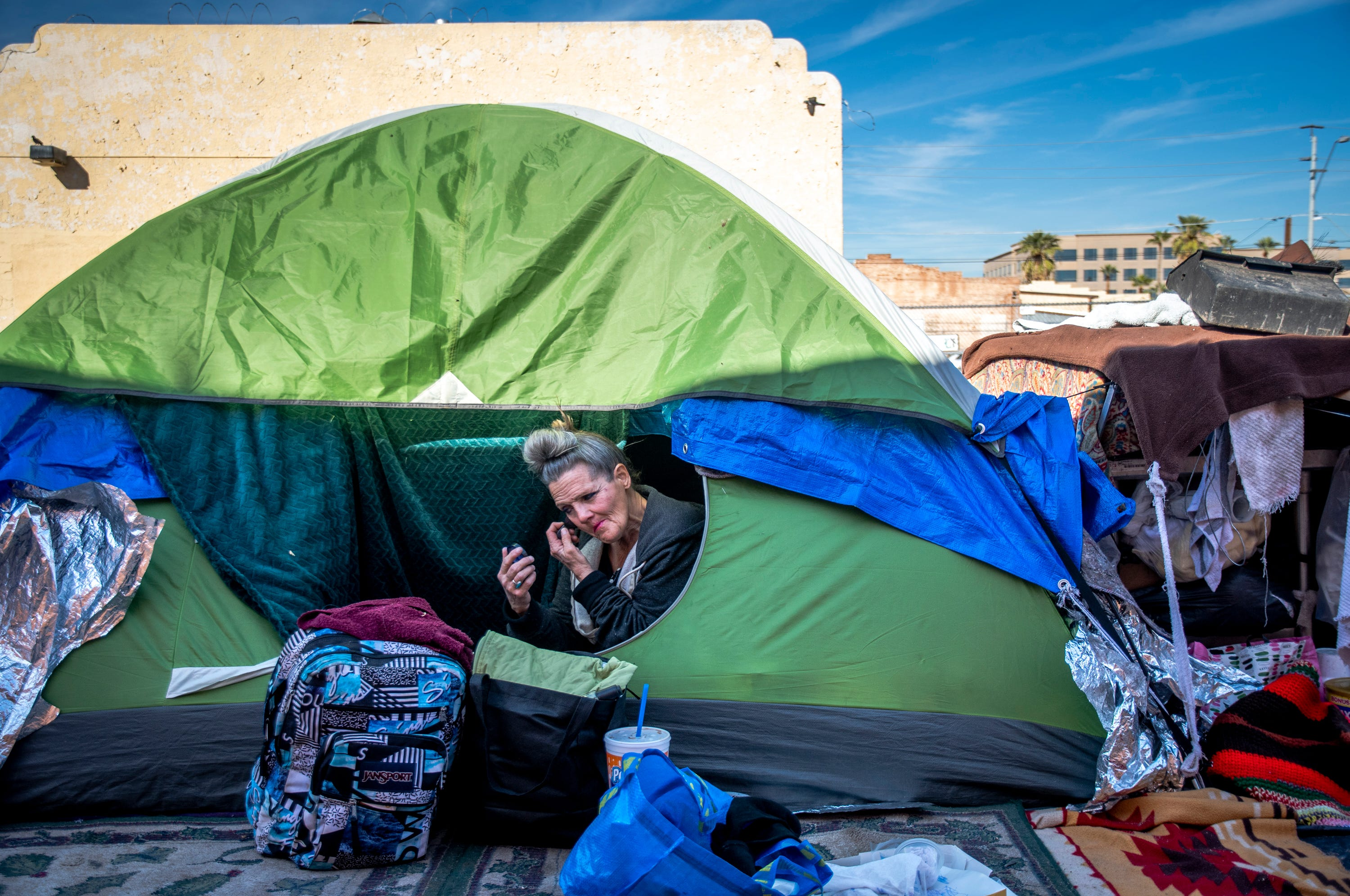 """""""You feel that total loss, trauma, every single time,"""" says Darlene Carchedi (seen on Jan. 3, 2020) of the homeless encampment cleanups where officials throw people's things out."""