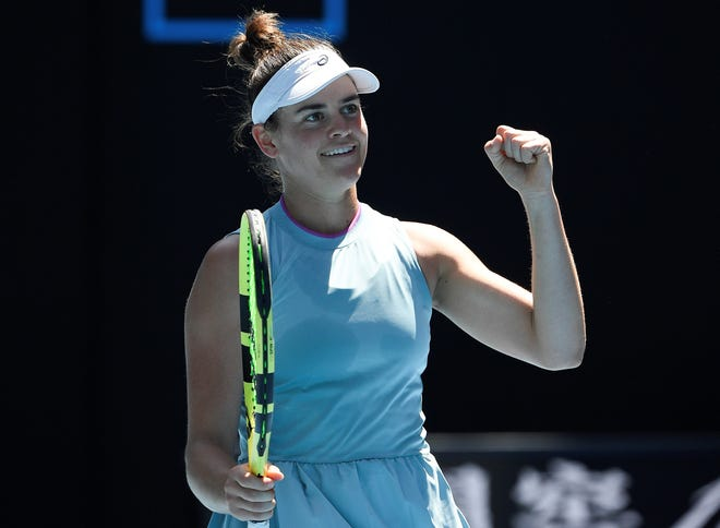 United States' Jennifer Brady celebrates after defeating Croatia's Donna Vekic in their fourth round match at the Australian Open tennis championship in Melbourne, Australia, Monday, Feb. 15, 2021.(AP Photo/Andy Brownbill)
