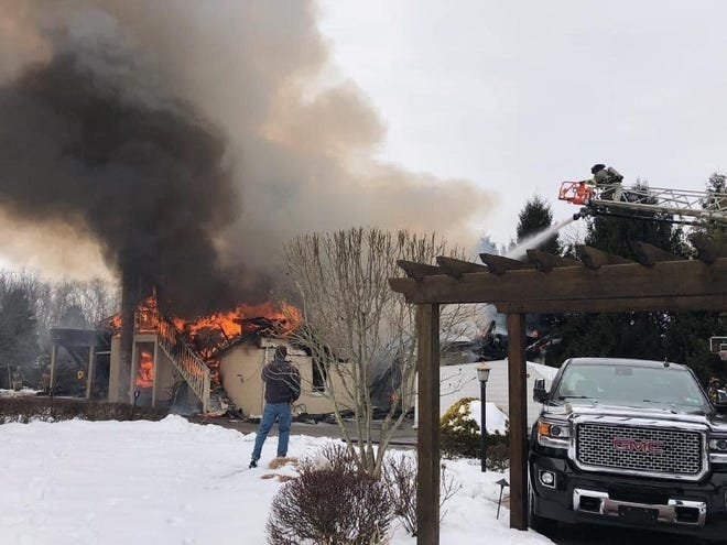 Fire destroyed this detached garage in the 2300 block of Taxville Road on Feb. 14, 2021, West Manchester Fire Chief Clif Laughman said. It was the business address and workshop for John M. Dotzel & Son Builder Inc.