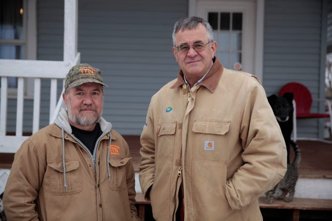 Victor Nemec, left, and Nick Nemec pose outside Nick Nemec's home in Holabird. Their cousin Joseph Boever was struck and killed by a car driven by the South Dakota Attorney General on Sept. 12. The cousins have been frustrated at the time it has taken for prosecutors to decide whether to charge Ravnsborg.