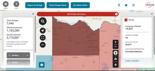 Oncor reported nearly 15,000 customers without power Monday morning.