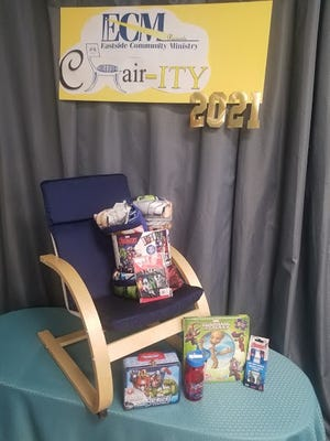 A chair and incentives donated for Eastside Community Ministry's annual CHAIR-ity auction.