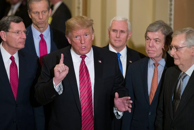 President Donald Trump and Vice President Mike Pence with leading Senate Republicans in 2019 at the U.S. Capitol.
