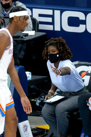 Thunder athletic trainer Vanessa Brooks sits on the Thunder bench during the NBA basketball game between the Oklahoma City Thunder and the Houston Rockets at the  Chesapeake Energy Arena in Oklahoma City, Monday, Feb. 1, 2021. Photo by Sarah Phipps, The Oklahoman
