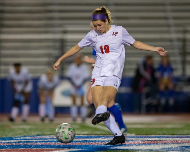 Lake Travis' Jessica Wade had two goals and an assist in a District 26-6A win over Akins last week before the winter weather halted play.