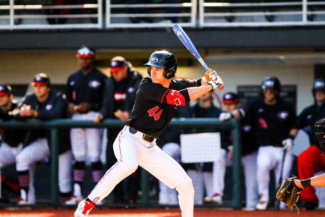 Georgia outfielder Ben Anderson (44) during a game against Santa Clara at Foley Field in Athens, Ga., on Friday, Feb. 21, 2020. (Photo by Tony Walsh)
