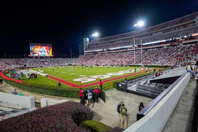 Nov 21, 2020; Athens, Georgia, USA; A general view of the field prior to the game between the Georgia Bulldogs and the Mississippi State Bulldogs at Sanford Stadium. Dale Zanine-USA TODAY Sports