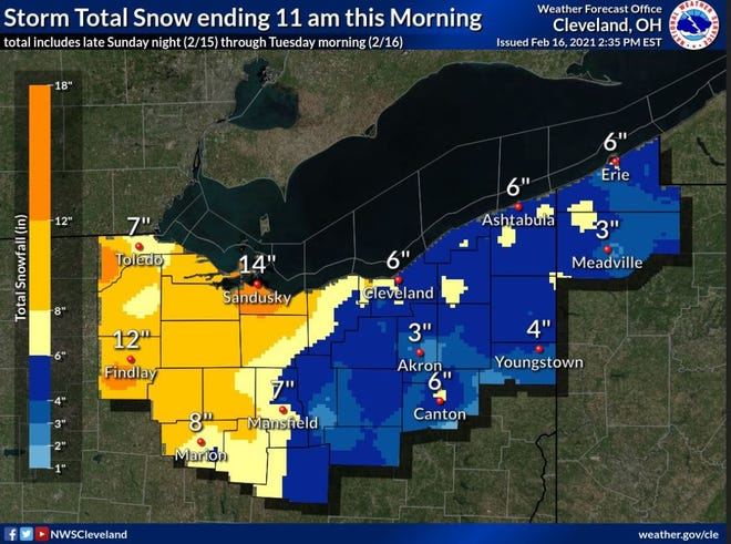 Map shows totals from Monday's snowstorm.