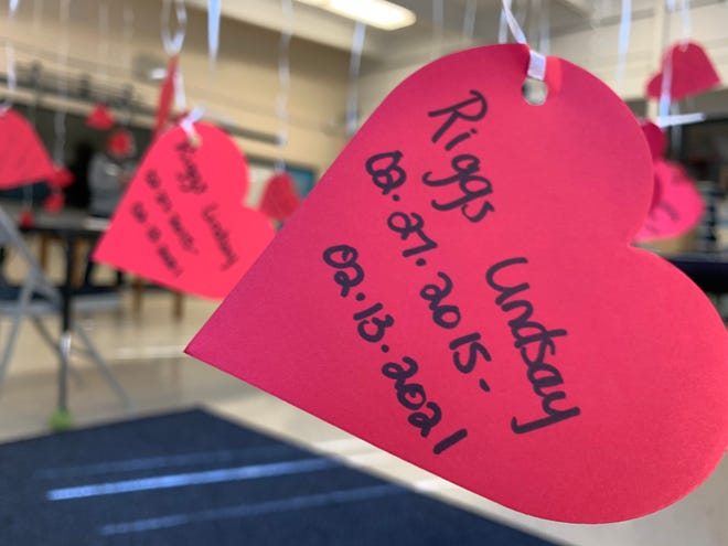 Balloons float in Riggs Lindsay's classroom at Belvedere Elementary School in North Augusta for a private memorial at the school on Tuesday, Feb. 16. The balloons had heart-shaped tags that say his name, birthday and the date he died.