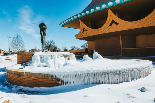 The fountain at the Bartlesville Community Center looks more like an ice sculpture after days of below-freezing temperatures.
