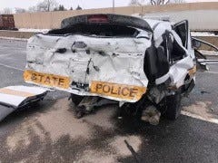 Feb. 15, at approximately 11:46 a.m. Illinois State Police (ISP) officials investigated a two-vehicle traffic crash on Interstate 55 northbound near Illinois Route 30 in Will County, involving an ISP Trooper.