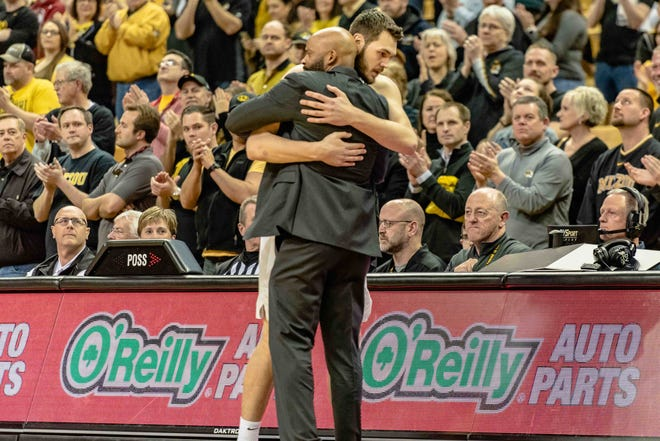 Missouri senior Reed Nikko hugs head coach Cuonzo Martin after he is taken out of his final home game March 7, 2020, at Mizzou Arena.