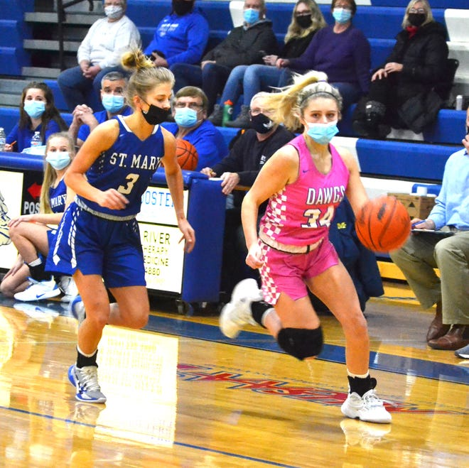 Junior guard Olivia Monthei (right) scored seven points to help lead the Inland Lakes varsity girls basketball team to a win at Mancelona on Monday.