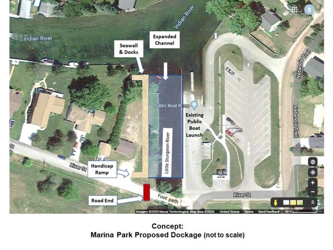 Tuscarora Township was recently awarded more than $54,000 through the Michigan Department of Agriculture and Rural Development to improve public docking and complete other renovations at Marina Park in Indian River. This graphic shows the proposed improvements.