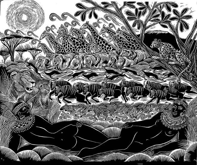 """Serengeti,"" scratchboard illustration by Evangelia Philippidis"