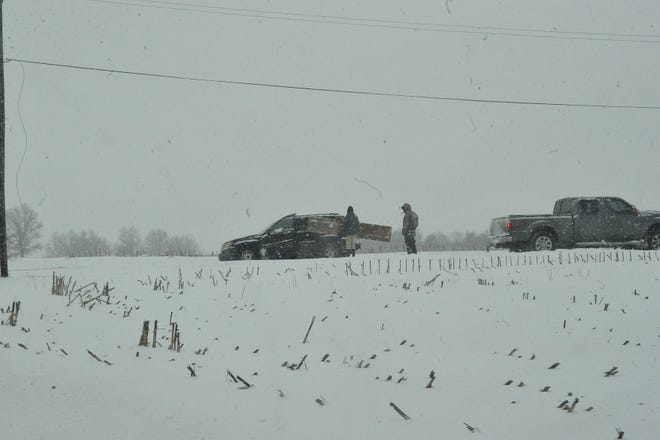 This jeep went into a ditch south of Smithville during Tuesday's snowy morning.