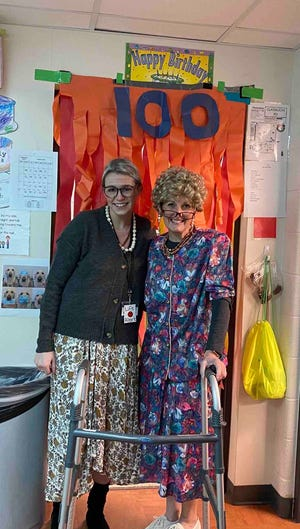 Addison Elementary School Young 5's teacher Sherri Day, right, and her student teacher from Adrian College, Makayla Stevens, dressed up as 100-year-old grandmothers last Wednesday, Feb. 9, to help their class celebrate the 100th day of the 2020-21 academic year.