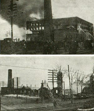 Above: Monmouth firefighters futilely pour water on the Maple City Manufacturing Co., where the bread slicer prototype and blueprints were stored. Below: The massive, four-story factory was reduced to rubble within 90 minutes.