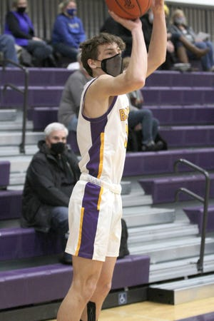 Bronson's Mason Harris fires away from three during the Vikings battle with Centreville Monday.