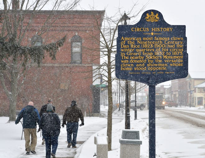 One of the most well-known pieces of Girard history was that circus owner Dan Rice, who some reports say was the inspiration behind the Uncle Sam character, quartered his circus in Girard from 1852 to 1875, as detailed by this Pennsylvania Historical and Museum Commission marker on Main Street West.