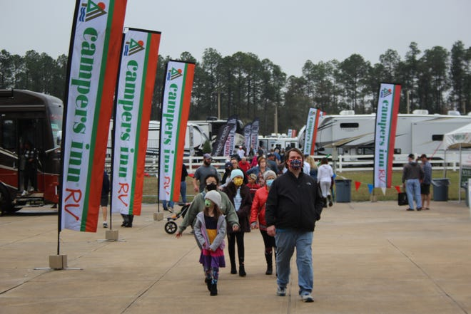 Despite the weather, traffic was steady as thousands attended the Jacksonville RV MegaShow, held last Thursday through Sunday at the Jacksonville Equestrian Center. This was the first Jacksonville RV show held with COVID-19 health safety precautions in place.