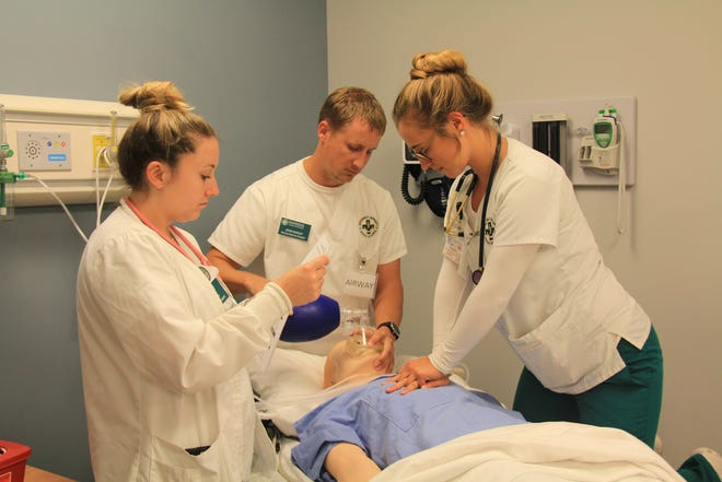 In 2019, experienced Baptist Health nurses help train new Baptist nurses at Jacksonville University's Healthcare Simulation Center on Beach Boulevard.