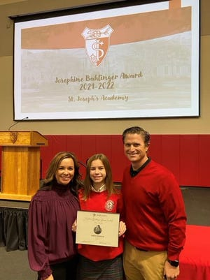 St. Theresa eighth-grader Lanna Rodrigue, daughter of Aimee and Lenny Rodrigue, has been chosen as one of the winners of the Josephine Bahlinger Award.