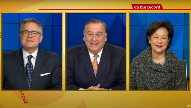 "Speaker Ron Mariano made Sunday television appearances on Channel 5's ""On The Record"" (pictured, with hosts Ed Harding and Janet Wu) and Channel 4's ""Keller At Large."" [Screenshot]"